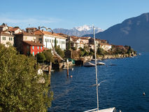 Sala Comacina, lake of Como. The small gulf with the harbor and Stock Images
