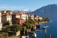 Sala Comacina, lake of Como. The small gulf with the harbor and Royalty Free Stock Photos