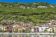 Sala Comacina. View at town Sala Comacina on Como lake in Italy Royalty Free Stock Photos