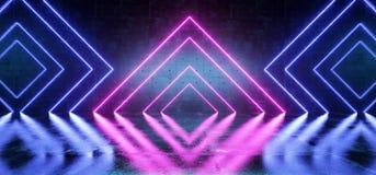 Sala concreta da reflexão do Grunge escuro retro futurista moderno de néon elegante de Sci Fi com triângulo de néon de incandescê ilustração royalty free