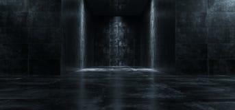 A sala concreta do Grunge escuro vazio com luzes nas paredes 3D arranca Ilustração Royalty Free