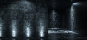 A sala concreta do Grunge escuro vazio com luzes nas paredes 3D arranca Ilustração do Vetor