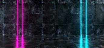 Sala concreta do Grunge interior futurista de Sci Fi com azul e plutônio Ilustração Stock