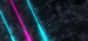Sala concreta inclinada do Grunge interior futurista de Sci Fi com azul Ilustração Royalty Free