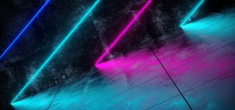 Sala concreta inclinada do Grunge interior futurista de Sci Fi com azul Ilustração do Vetor