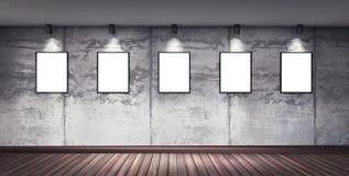 Sala concreta moderna da galeria com projetor direcional Fotos de Stock