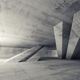 Sala concreta vazia abstrata, interior 3d Imagem de Stock Royalty Free