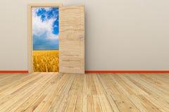 sala 3d com porta aberta Imagem de Stock Royalty Free