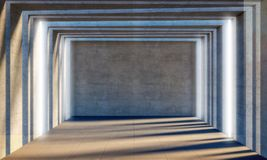 Sala 3d concreta Foto de Stock Royalty Free