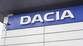Sala d'esposizione della città di Iasi e commerciante della società di automobile di Dacia fotografia stock libera da diritti