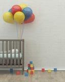 A sala 3d interior das crianças rende a imagem, cama, balões Fotos de Stock Royalty Free