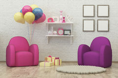 A sala 3d interior das crianças rende a imagem, pufe, balões Fotos de Stock Royalty Free