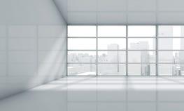 Sala 3d vazia com arquitetura da cidade na janela ilustração do vetor