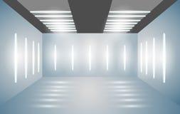 Sala 3D vazia da exposição com iluminação brilhante Apresentação dos carros, motocicletas, retros, artigos de valor Ilustração do ilustração royalty free