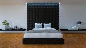sala da cama 3D com parede de couro Fotografia de Stock