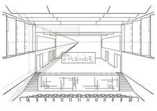 Sala da concerto architettonica lineare di schizzo Fotografia Stock