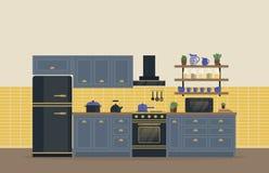 Sala da cozinha para o alimento que cozinha o interior com fogão ou forno, a escala de gás e o refrigerador ou o refrigerador, cr Foto de Stock