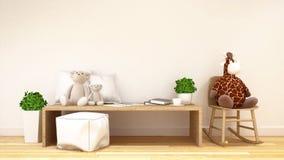 Sala da criança ou rendição da família room-3d Fotografia de Stock