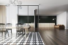 Sala da pranzo in bianco e nero, sofà, mattonelle Fotografia Stock