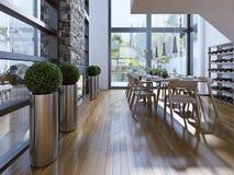 Sala da pranzo con stile alta tecnologia dello scaffale del vino Fotografia Stock Libera da Diritti