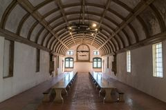 Sala da pranzo del refettorio nel convento di Cristo Convento De Cr immagine stock libera da diritti