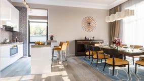 Sala da pranzo della cucina moderna illustrazione 3D Fotografia Stock