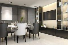 sala da pranzo della rappresentazione 3d con la decorazione stabilita della console della TV illustrazione vettoriale