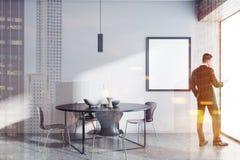 Sala da pranzo della tavola rotonda, uomo d'affari, manifesto Fotografia Stock