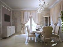 Sala da pranzo di lusso nello stile di art deco Fotografia Stock