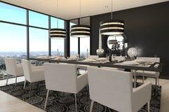 Sala da pranzo di progettazione moderna | Interno del salone Immagini Stock