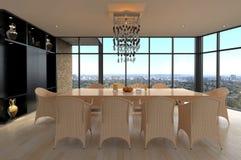 Sala da pranzo di progettazione moderna | Interno del salone Fotografia Stock