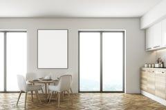 Sala da pranzo e cucina bianche e di legno illustrazione di stock