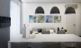 Sala da pranzo interna, cucina Royalty Illustrazione gratis