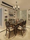 Sala da pranzo interna in un'illustrazione classica di stile 3d Fotografia Stock
