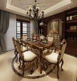 Sala da pranzo interna in un'illustrazione classica di stile 3d Immagine Stock Libera da Diritti