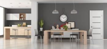 Sala da pranzo moderna con la cucina Immagine Stock Libera da Diritti