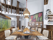 Sala da pranzo moderna sviluppata nello spazio della cucina Fotografie Stock Libere da Diritti