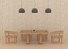 Sala da pranzo nell'interno di legno di stile nell'illustrazione 3D Immagine Stock Libera da Diritti