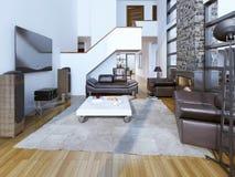 sala da sala de estar do Alto-teto com chaminé Imagens de Stock