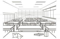 Sala de aula arquitetónica linear do interior do esboço Imagem de Stock Royalty Free