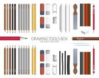 Sala de aula - caixa das ferramentas de desenho Foto de Stock
