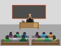Sala de aula com os estudantes de ensino da leitura Imagens de Stock Royalty Free