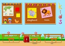 Sala de aula com placas e cadeiras ilustração royalty free