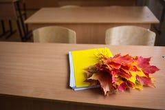 Sala de aula da escola caderno e ramalhete das folhas de bordo do outono na tabela conceito: de volta à escola, dia do ` s do pro imagem de stock