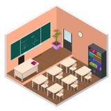Sala de aula interior com opinião isométrica da mobília Vetor Fotos de Stock Royalty Free