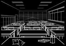 Sala de aula interior do esboço arquitetónico no fundo preto Foto de Stock