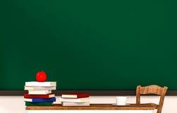 Sala de aula, livros, maçã, copo de café, tabela, cadeira e quadro-negro verde, com espaço da cópia, 3d rendido ilustração do vetor