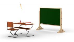 Sala de aula no fundo branco 3d rendem ilustração do vetor