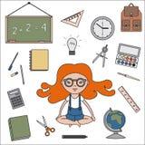 A sala de aula objeta ícones do esboço Fotos de Stock Royalty Free