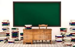Sala de aula, quadro-negro verde na parede branca com tabela, cadeira e pilhas dos livros no assoalho de madeira, 3d rendido ilustração do vetor
